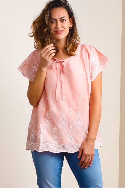 EMBROIDERED PEASANT BLOUSE - orangeshine.com