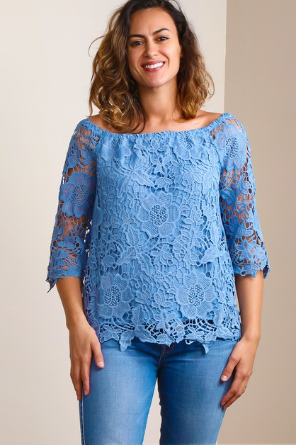 OFF SHOULDER CROCHET BLOUSE - orangeshine.com