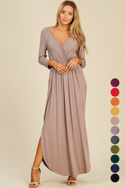 Wrap Maxi Dress with Round Hem - orangeshine.com