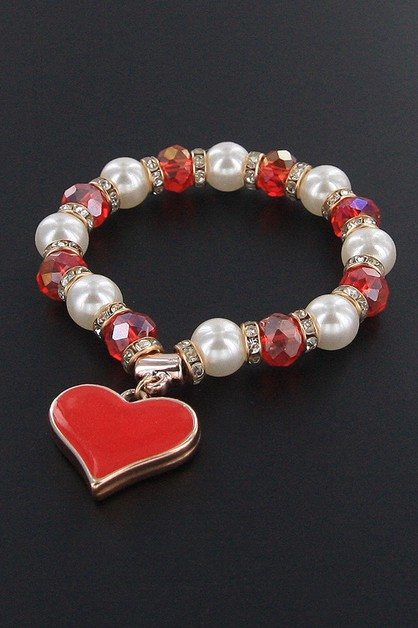 Heart Charm Stretch Bracelet - orangeshine.com