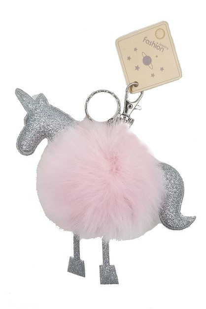 Unicorn Soft Fur Pompom Key Chain - orangeshine.com