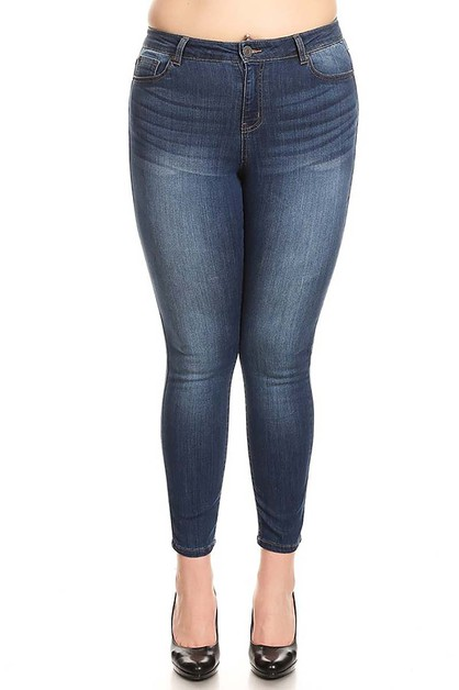 DARK WASH PLUS SIZE DENIM JEANS - orangeshine.com