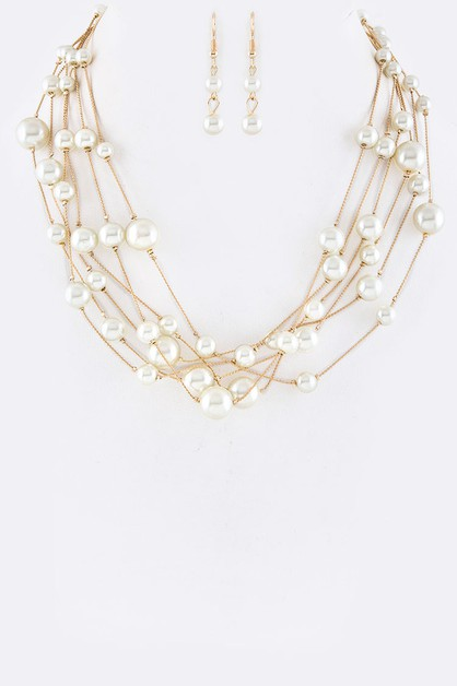 Stationed Pearls Layer Necklace Set - orangeshine.com