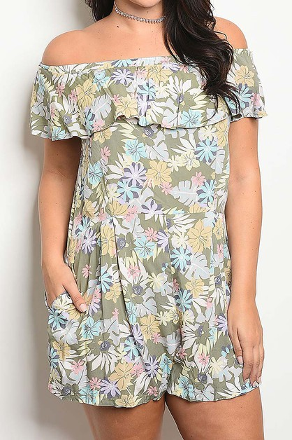 OFF SHOULDER FLORAL PRINT ROMPER - orangeshine.com