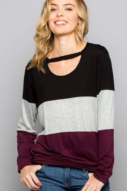 Color block Cut out Top - orangeshine.com