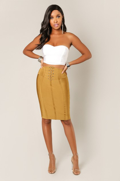Metal Fixture Bandage Pencil Skirt - orangeshine.com
