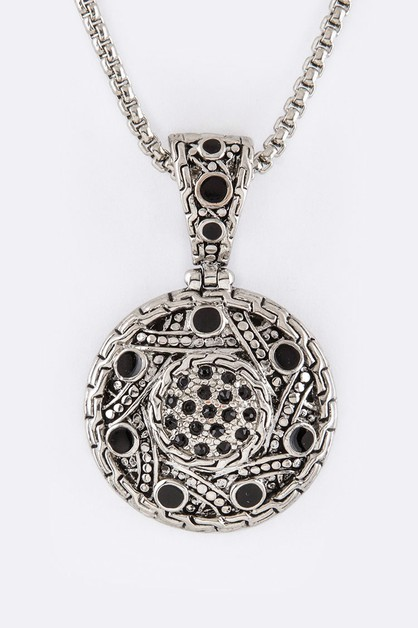 Pave Crystals Disk Pendant Necklace - orangeshine.com