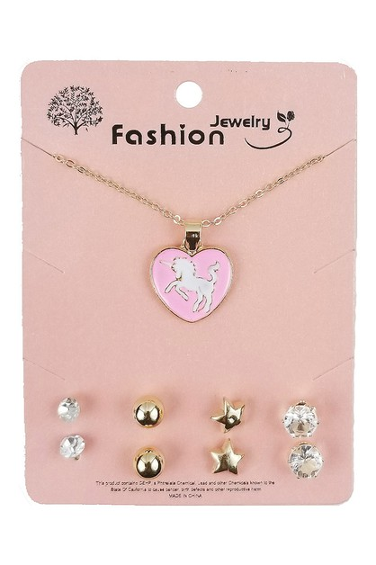 Unicorn Necklace and Earring Set - orangeshine.com