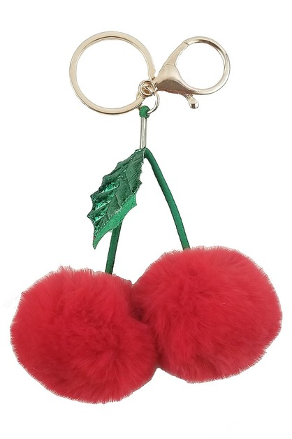 Cherry Pompom Key Ring - orangeshine.com