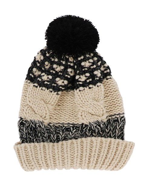 Beige and Black Knit Beanie - orangeshine.com