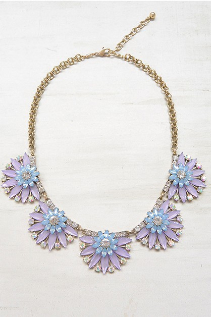 FLOWER CRYSTAL JEWELED NECKLACE - orangeshine.com