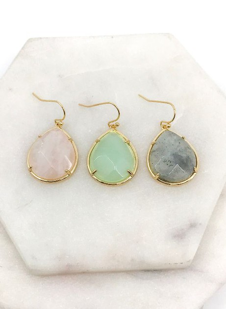 Pronged Natural Stone Earrings - orangeshine.com