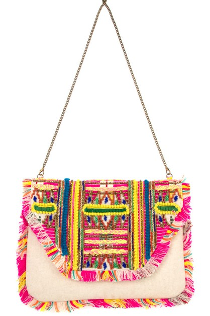 FRINGE ACCENT COLORFUL SHOULDER BAG - orangeshine.com