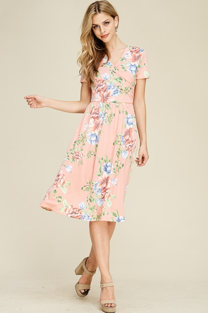 FLORAL PRINT SURPLICE  SWING DRESS - orangeshine.com