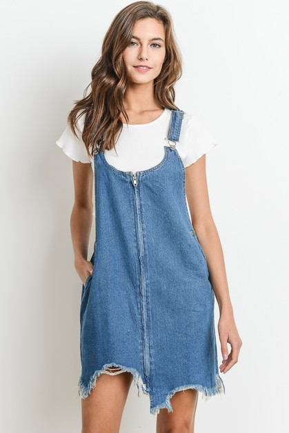 Denim Zip Up Overall Dress - orangeshine.com