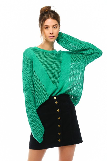 Long-sleeve open knit sweater - orangeshine.com