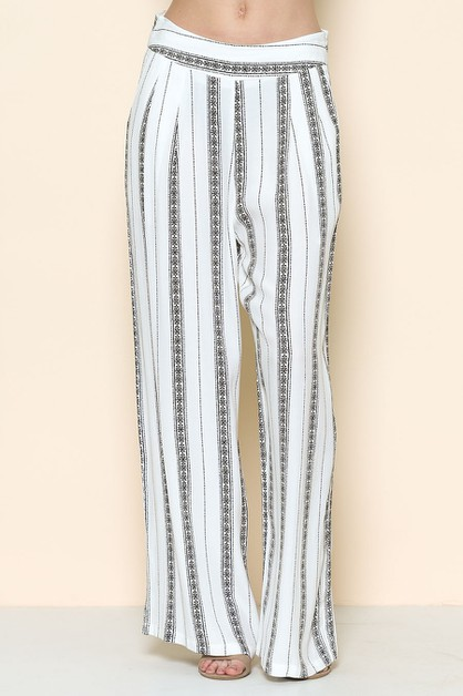 STRIPE LONG WIDE PANTS - orangeshine.com