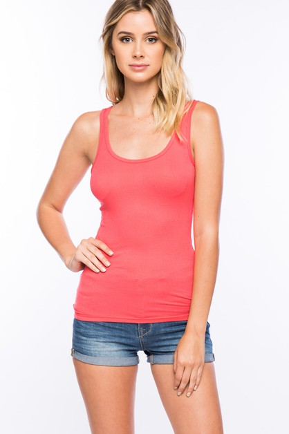 Sleeveless solid ribbed tank top - orangeshine.com