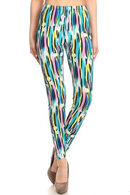 MULTI-COLOURED PAINT STROKE LEGGINGS - orangeshine.com