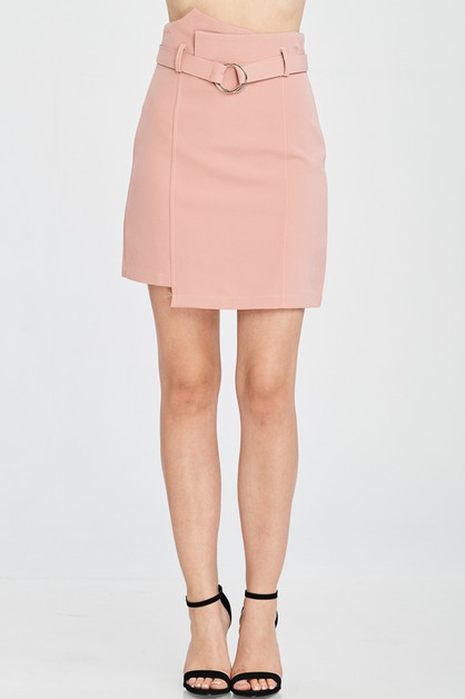 UNEVEN HEM WRAP STYLE BELTED SKIRTS - orangeshine.com