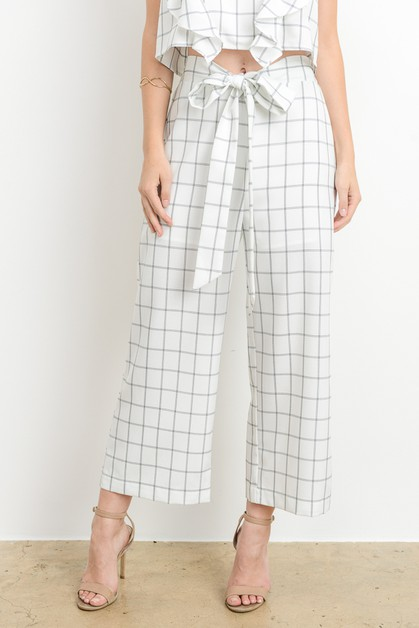 Windowpane Straight Leg Pant - orangeshine.com