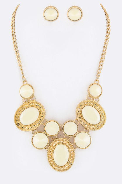 Mix Stones Statement Necklace Set - orangeshine.com