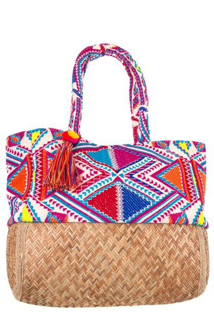 MULTI COLOR TRIANGLE PATTERN TOTE BA - orangeshine.com