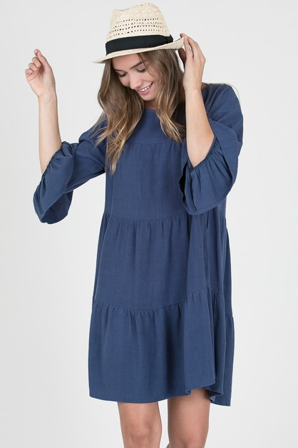 TIERED LONG SLEEVE DRESS - orangeshine.com