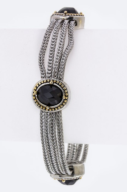 Oval Stone Layer Chains Bracelet - orangeshine.com