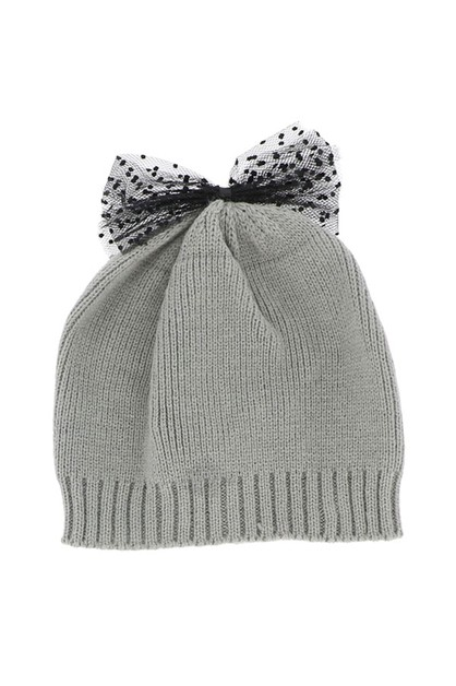 Grey Knit Beanie with Bow - orangeshine.com