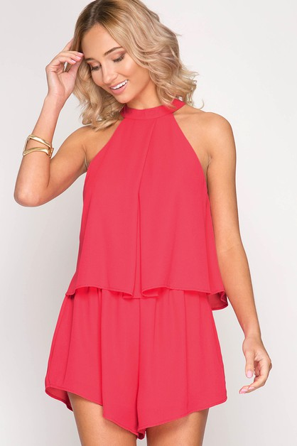 SL4763R- SLEEVELESS LAYERED ROMPER - orangeshine.com