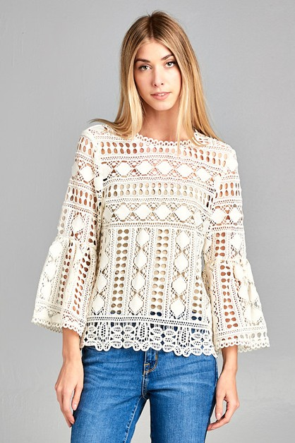 ALICE BELL SLEEVE LACE TOP  - orangeshine.com