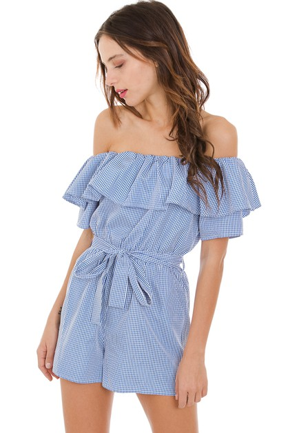 Gingham tube romper - orangeshine.com