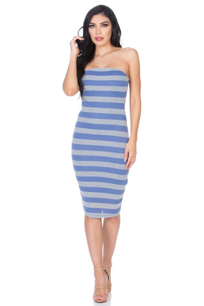 STRIPE TUBE DRESS - orangeshine.com