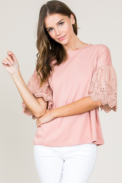 LACE SLEEVE TOP - orangeshine.com