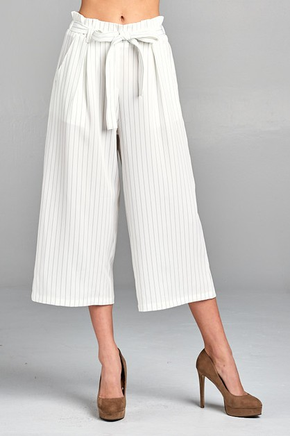 STRIPED BELTED ANKLE PANTS - orangeshine.com