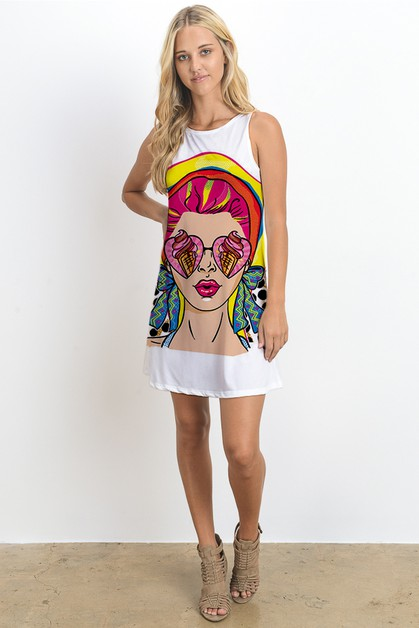 SLEEVELESS MINI DRESS W PRINT - orangeshine.com