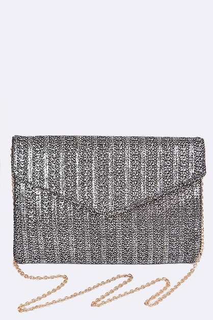 Metallic Stripes Envelope Clutch Bag - orangeshine.com