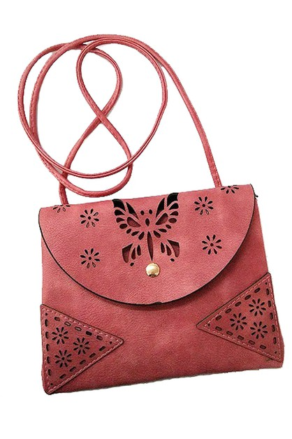 Butterfly Faux Leather Crossbody Bag - orangeshine.com