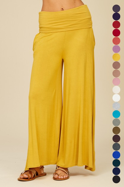 Wide Leg Band Pants with Pockets - orangeshine.com