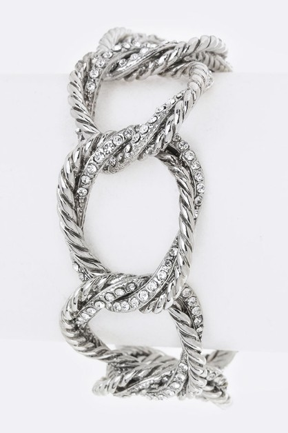 Pave Crystals Linked Hoops Bracelet - orangeshine.com