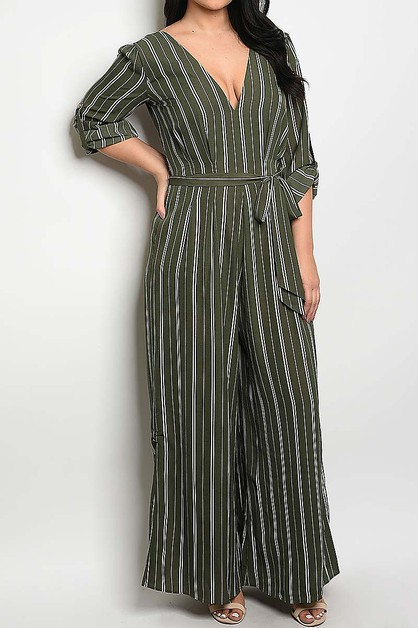 V NECK ROLL UP SLEEVE STRIP JUMPSUIT - orangeshine.com