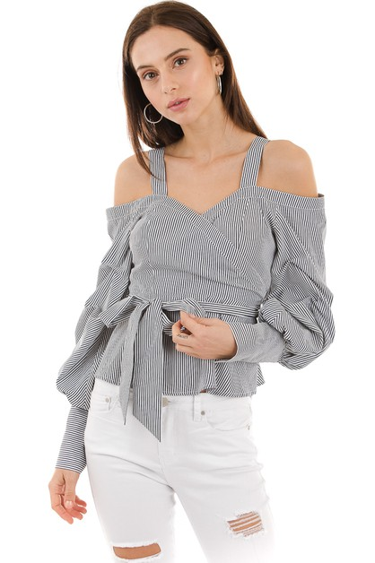 Stripe off shoulder top - orangeshine.com