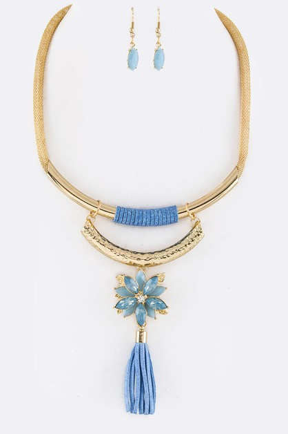 Crystal Flower Suede Tassel Collar - orangeshine.com