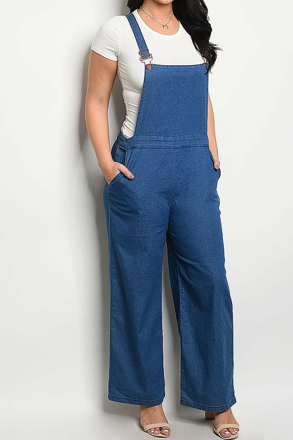POCKET DETAIL WIDE LEG DENIM OVERALL - orangeshine.com