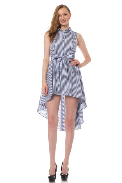 Stripe Sleeveless shirt dress - orangeshine.com