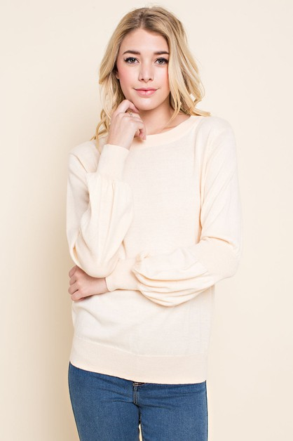 PUFFY SLEEVE KNIT SWEATER - orangeshine.com