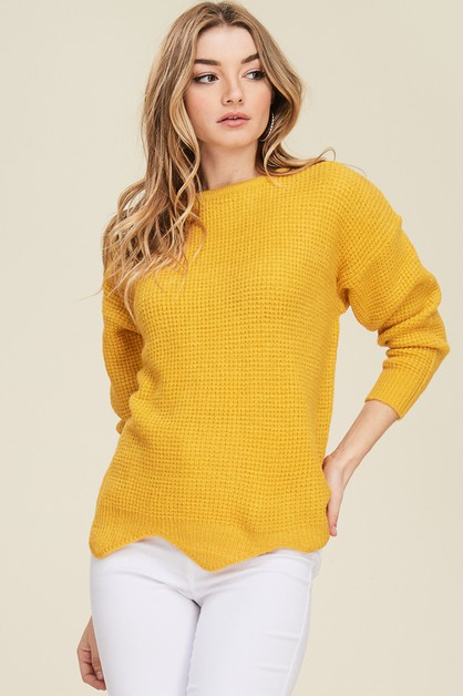 Wave Hem Knit Top  - orangeshine.com