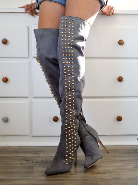 Thigh High Studded Boot - orangeshine.com