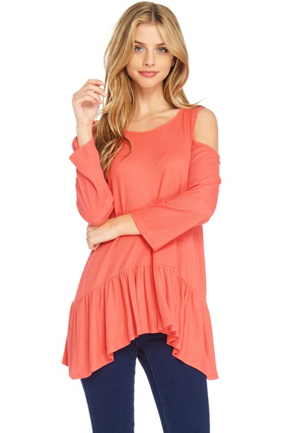 COLD SHOULDER BOTTOM RUFFLE TOP  - orangeshine.com